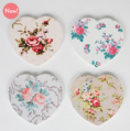 50% off 4 Vintage Rose Heart Coasters